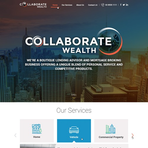 Website Design Concept for Collaborate Wealth