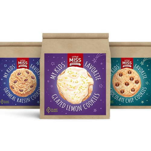 Cookies label design concept, original watercolor + digital illustration