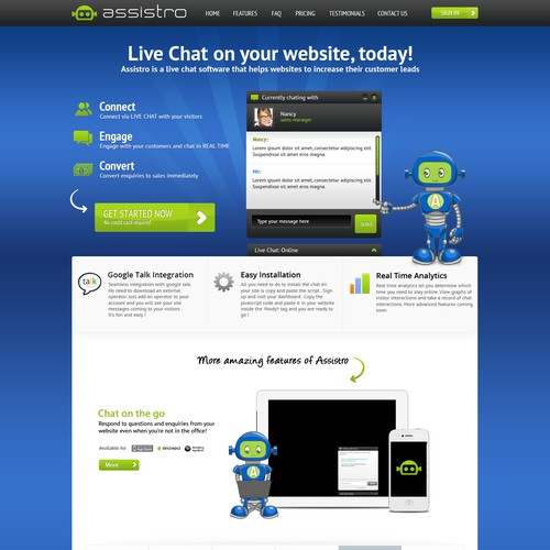 Help assistro live chat with a new website design