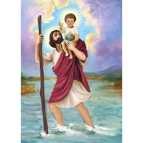 An Inspirational Image of St. Christopher