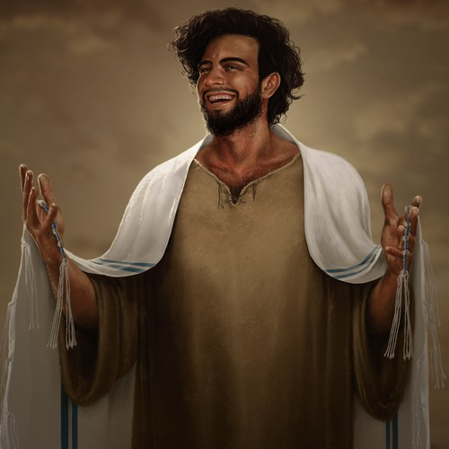 Illustration of a Laughing Jesus (Cultural/ Theoretical Depiction)