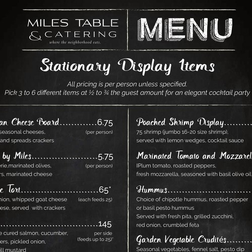 Menu for Miles Table & Catering