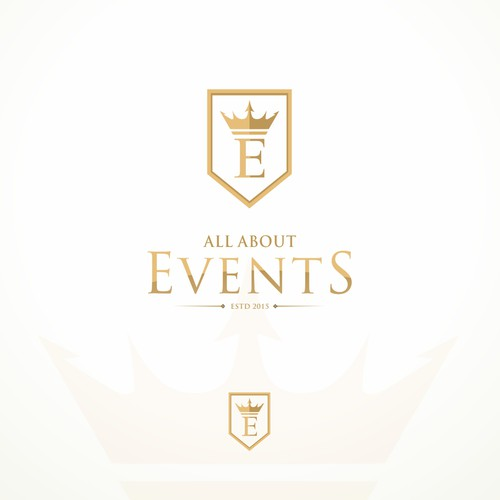 Royal Brand Identity for 'All About Events' in the United Kingdom.