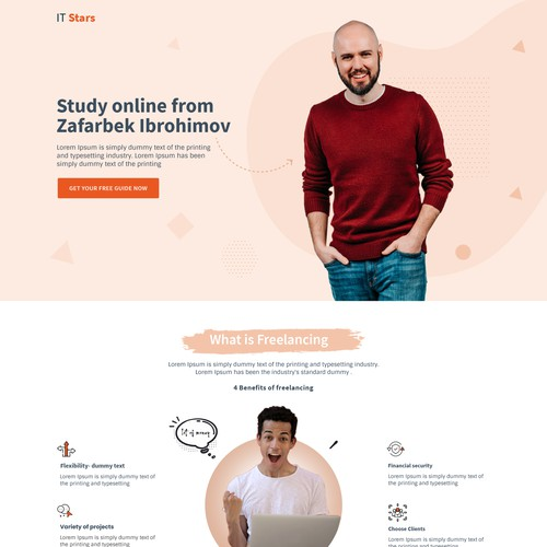 Landing page for an online course website