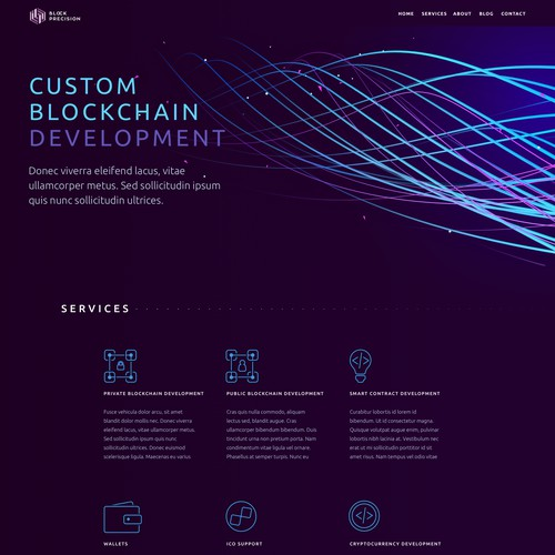 Landing page for software development agency that specializes in building custom applications using Blockchain Technology