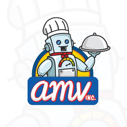 Cartoon Food Robot Logo of AMV inc