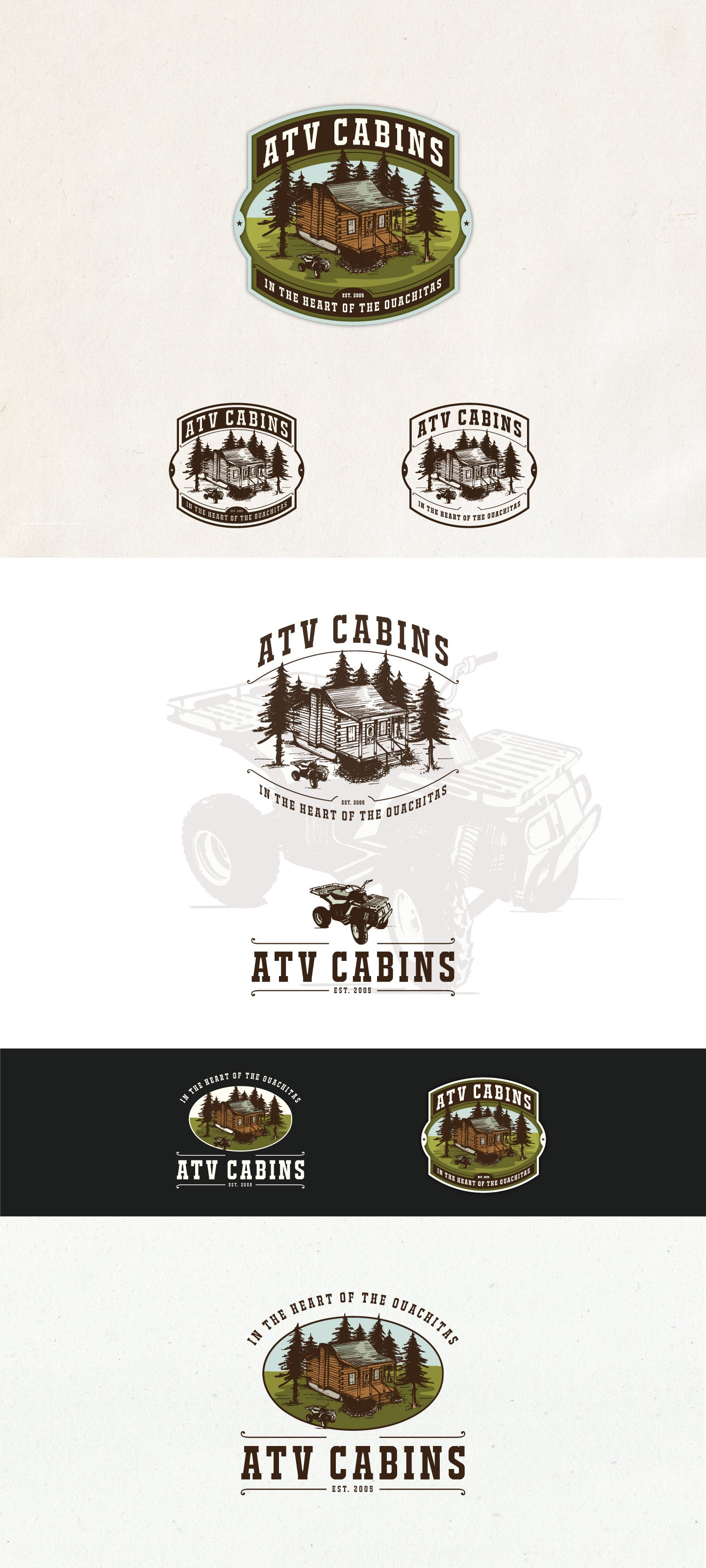 Create a log cabin rental logo with a vintage/antique feel incorporating ATVs