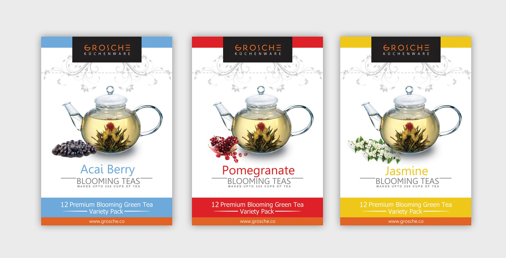 Label graphic design (front/back) for upscale Blooming-Flowering Tea Tins