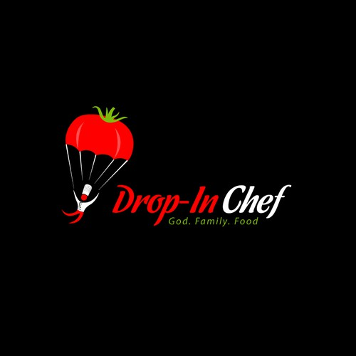 Create a capturing image of a Chef Dropping In like a skydiver