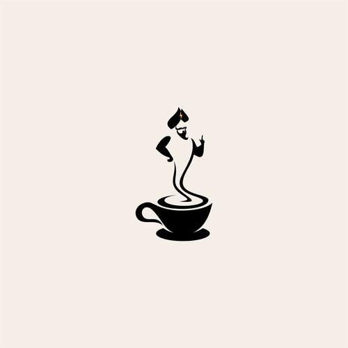 genie from a coffee logo