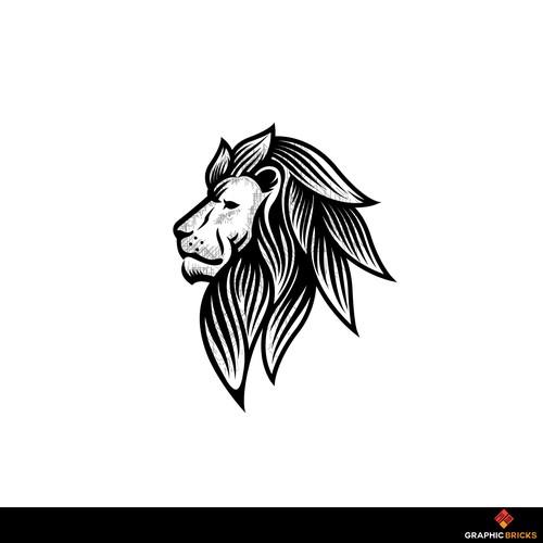 Lion illustration monotone