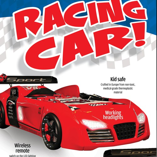 Trade show banner for racing car beds