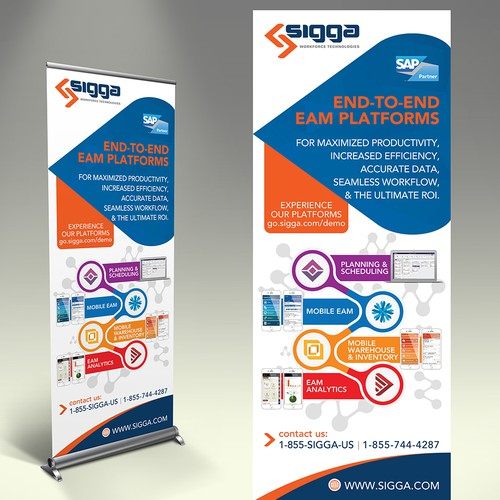 Create a modern, innovative feel for B2B software company trade show banner