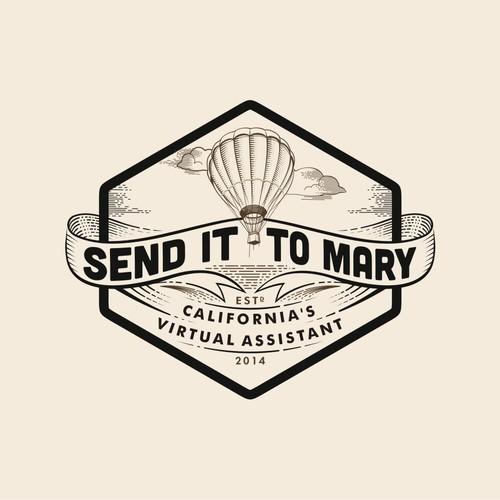 Throwback retro hot air balloon themed logo for California basedAssistant.