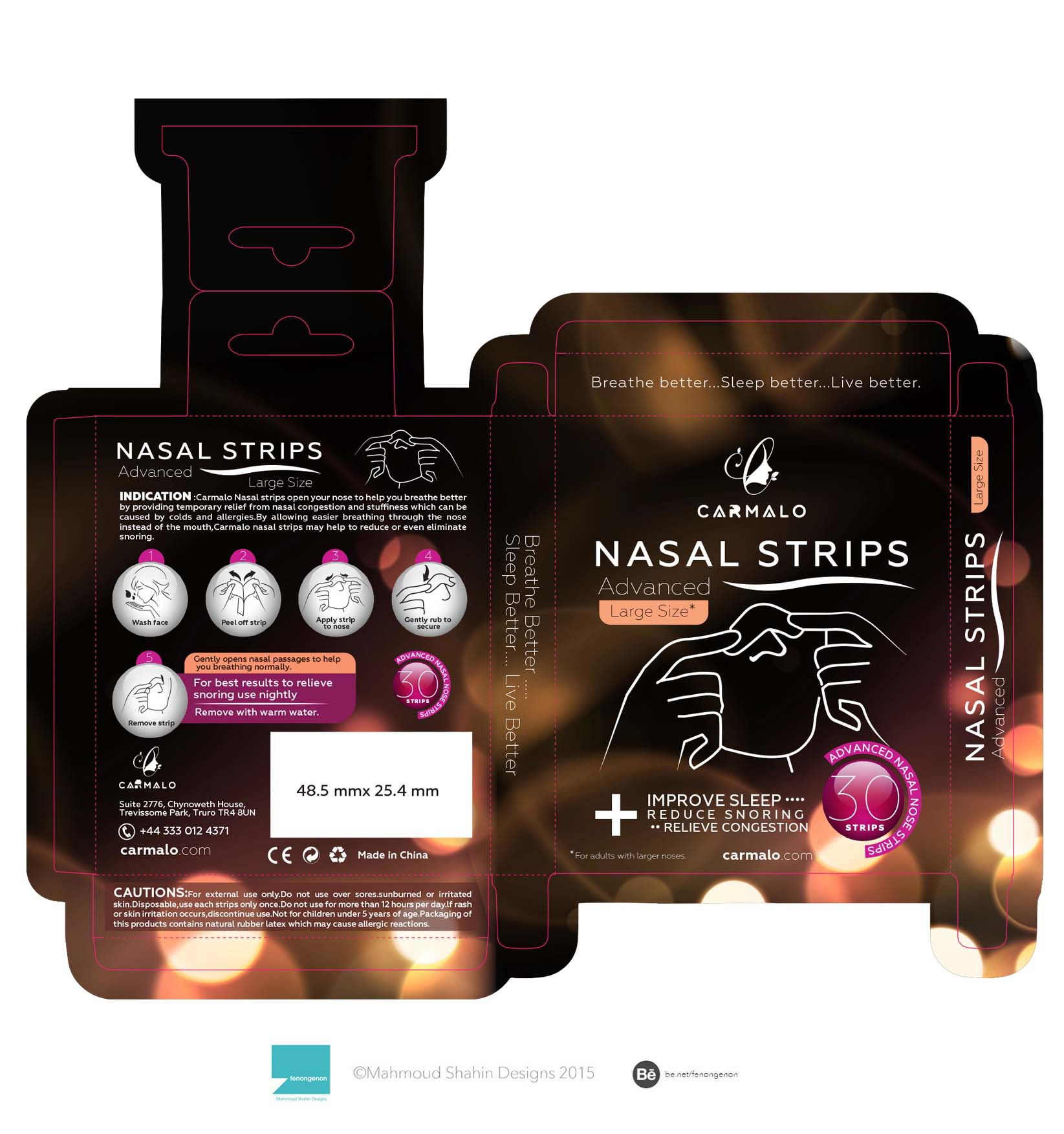 Packaging Carmalo Nasal Strips Retail Box