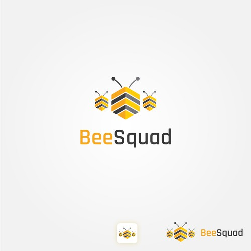 Abstract logo design for a tech company called Bee Squad