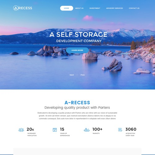 Professional website for a Self-Storage development company