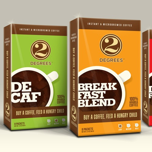 Help a small food company with a big mission to design a new line of coffee packages.