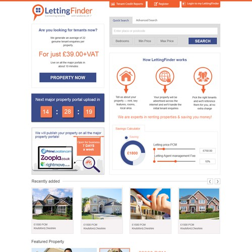 LettingFinder Home page