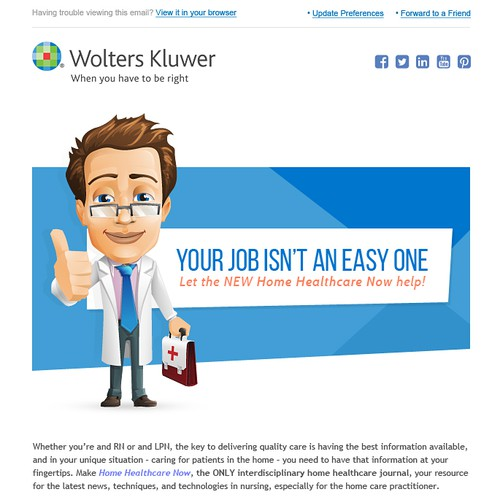 Need a clean, modern email design for medical journals