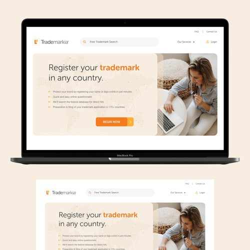 Website design for Trademarkia.com