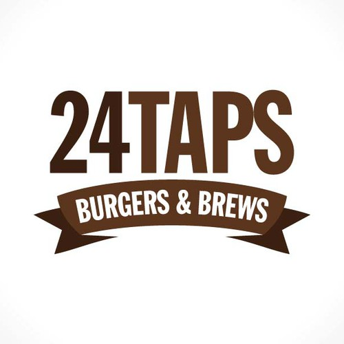 "simple design, round, beer barrel end, ""24Taps, Burgers & Brews"""