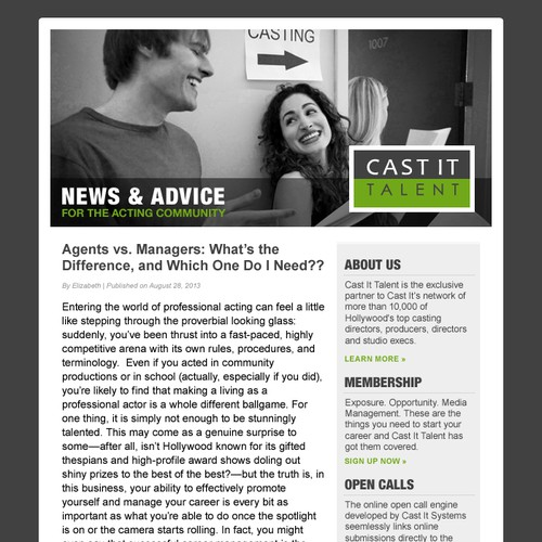 Email Design Template for Casting Agency