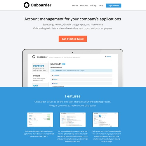 Onboarder landing page