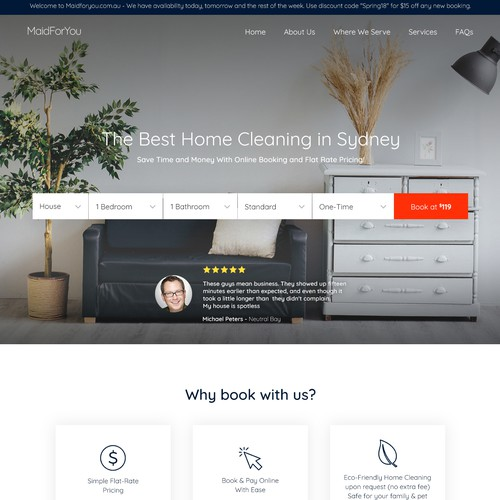 Landing page design for MaidForYou