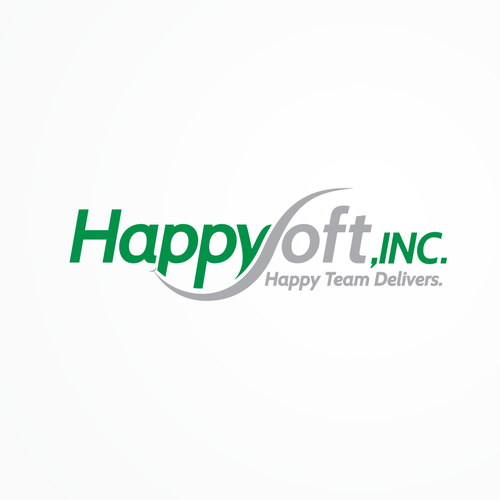 simple modern logo for happysoft inc