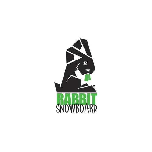 Rabbit Snowboard Logo Design. Snowboard clothing