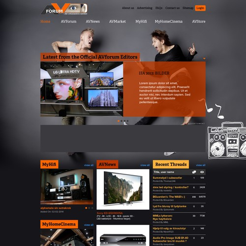 Create a new layout and GUI for Norway´s leading AV-community, AVforum.no