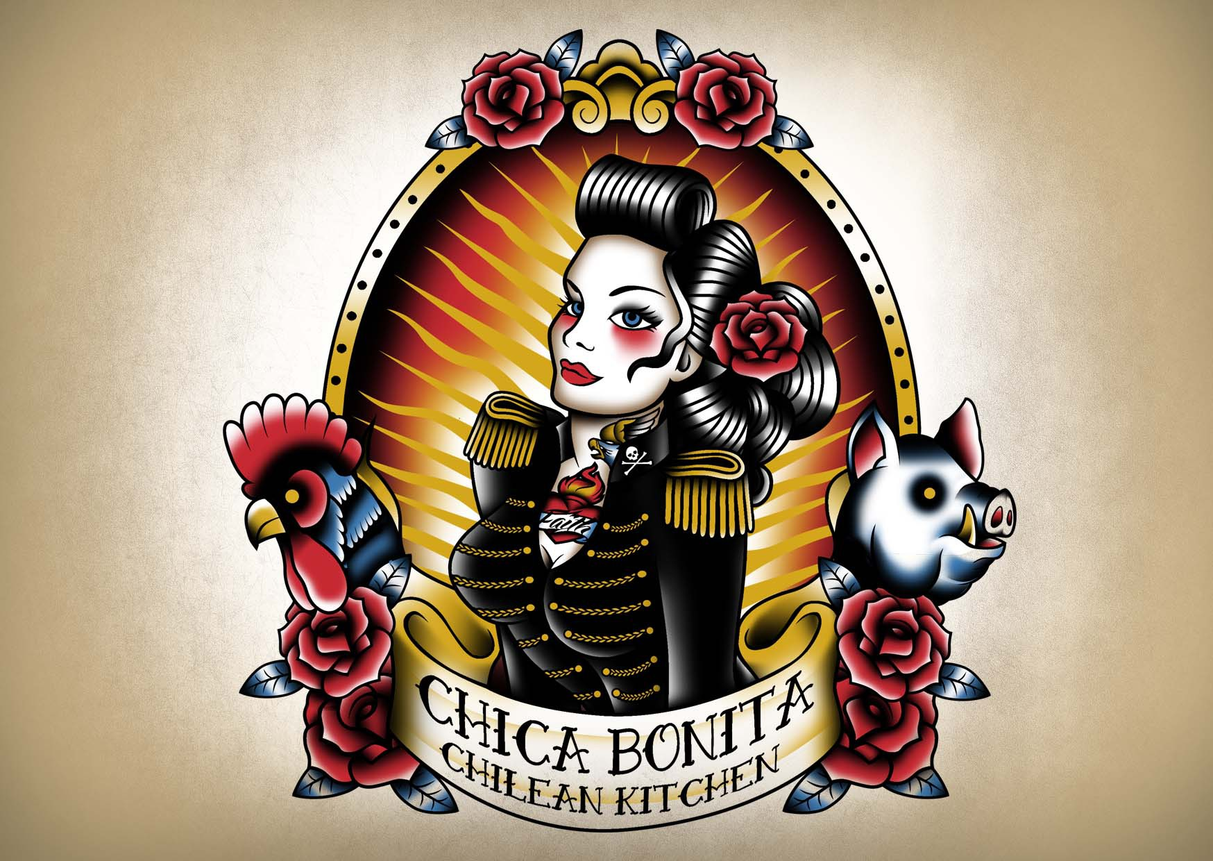 Create a character logo for a Chilean pop-up & food truck in a pin-up/ tattoo style