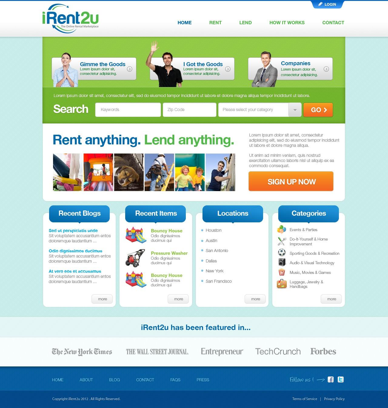 New website design wanted for iRent2u