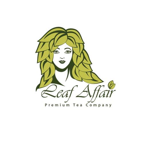 Create an inspiring female character logo for a modern tea company