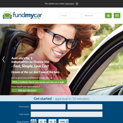 Website design for FundMyCar