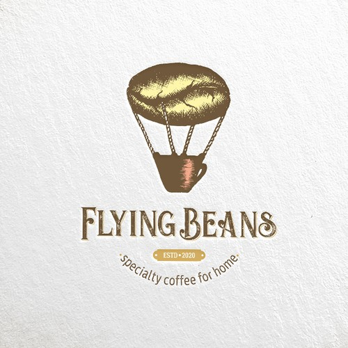 """A handmade logo for a business with a name """"Flying Beans"""""""