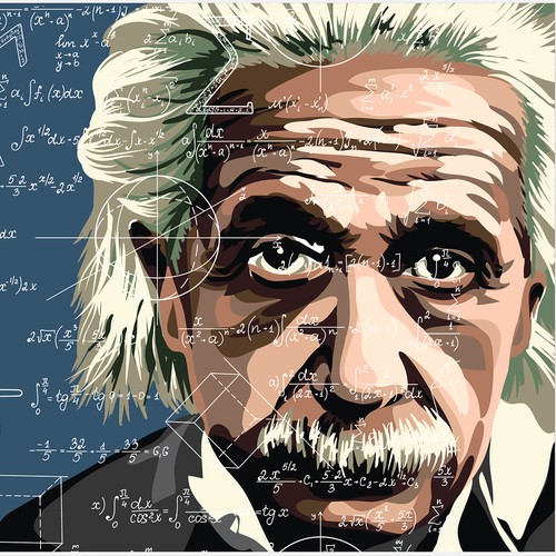 Einstein's portrait in the style of pop art, vector graphics