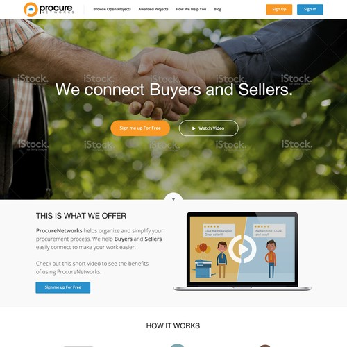 We need a simple landing page for a business purchasing web app.