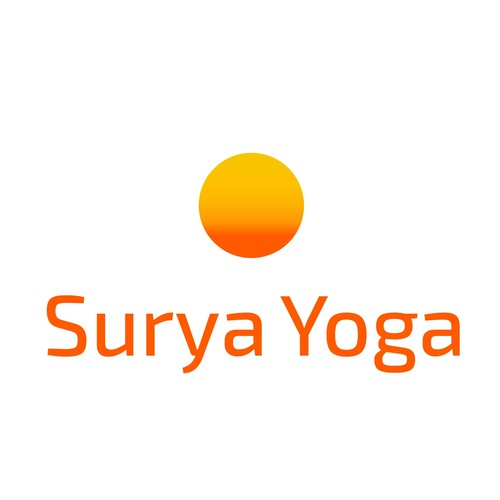 Simple, abstract-ish, zen-like captivating image of the sun for Surya Yoga,a hot power yoga studio