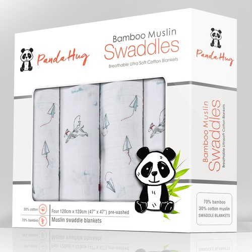 Bamboo swaddles package design for Panda Hug