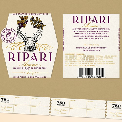 Sophisticated label for an amaro liqueur brand