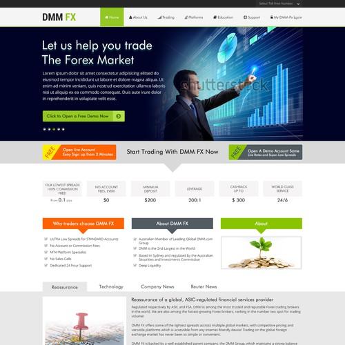 Open, free design, landing page for a Australian forex broker