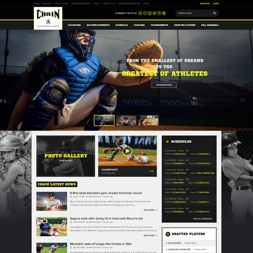 Create an Awesome Elite Baseball Academy and Travel Teams site for Chain Baseball!