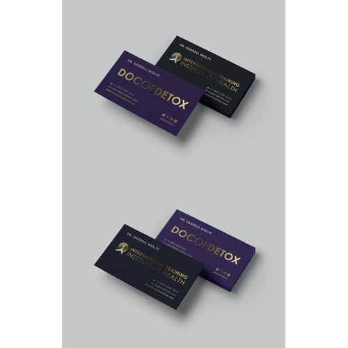 Silk business cards with gold foil