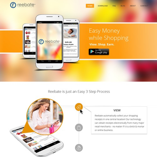 New modern Consumer Landing Page for reebate
