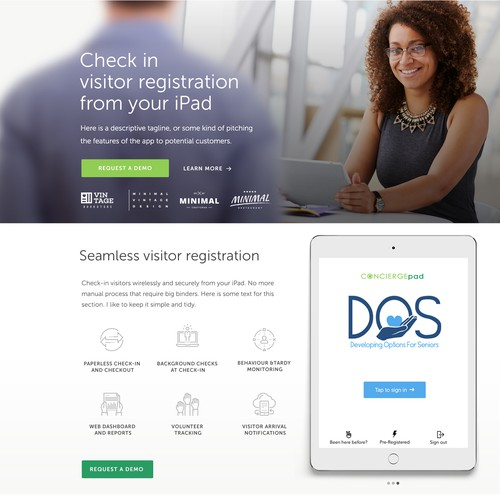 Feature-rich homepage for visitor registration app