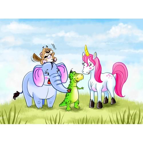 Deutsch/Englisch: Illustrate four wonderful animals for a children´s CD with animationfilm-potential