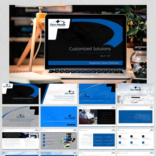 """PowerPoint Design for the """"Med-Trans Corporation"""" Project."""