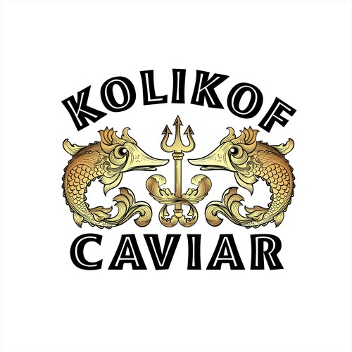 Artistic, vintage, sophisticated with whimsy out of this world logo for kolikof caviar